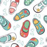 Little girl shoes seamless pattern Stock Photography