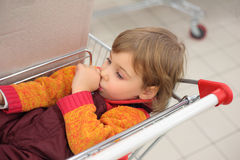 Little girl in shop lies in cart Stock Image
