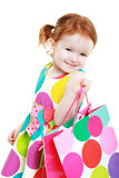 Little girl shopaholic Royalty Free Stock Images
