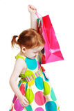 Little girl shopaholic Royalty Free Stock Photo