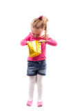 Little girl with shopping bag isolated on white Royalty Free Stock Photo