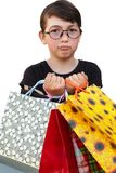 Little girl with shopping bags on white background. Little girl with shopping bags. Isolated over white background Stock Photography