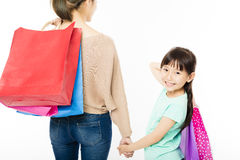 little girl shopping with mother Royalty Free Stock Photography