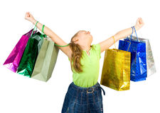 Little girl shopping success and joy Royalty Free Stock Photography