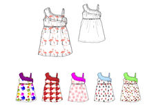 Little girl Shoulder drop dress in various printed design fabric illustration Stock Images