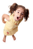 Little girl shouting. A little girl standing and shouting Stock Images