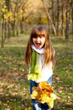 Little girl shouting and holding leaves. Beautiful little girl screaming in the autumn forest and holding leaves and teddy bear Stock Image