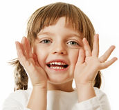 Little girl shouting loudly. Little girl shouting - portrait on white background royalty free stock photography