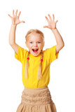 Little girl shouting loudly with raised hands. Up.  Isolated on white background Royalty Free Stock Photography