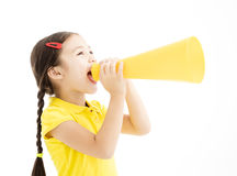 Little girl shouting by megaphone. Happy little girl shouting by megaphone Stock Image