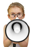 Little girl shouting by megaphone. Isolated on white background. Emotion Royalty Free Stock Photography
