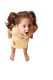 Little girl shouting,  or tantrum. A young little girl with fists clenched screams or throws a tantrum Royalty Free Stock Photos