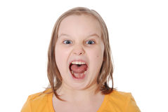 The little girl shouts Royalty Free Stock Image