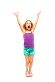 Little girl shouts raising up her hands Royalty Free Stock Photography
