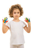 Little girl showing colorful palms Stock Photos
