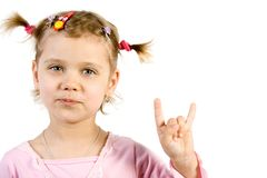 Little girl showing fingers si. Gn. Isolate on white Stock Photo