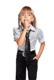 Little girl showing hand silence sign Stock Image