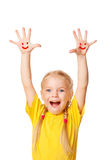 Little girl showing hands with smile symbol and la Stock Image