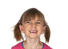 Little girl showing her tooth gap Royalty Free Stock Images