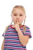 Little girl showing silence sign Royalty Free Stock Photography