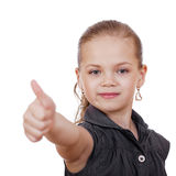 Little girl is showing thumb up gesture using both hand Royalty Free Stock Images