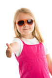 Little girl showing thumbs up Stock Photos