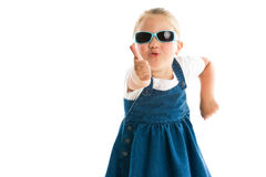 Little girl showing thumbs up Royalty Free Stock Images