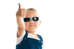 Little girl showing thumbs up Stock Images