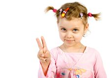 Little girl showing victory si Royalty Free Stock Images