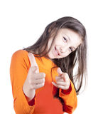 The little girl shows a finger. Isolated Stock Images