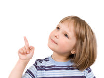 Little girl shows finger Stock Images
