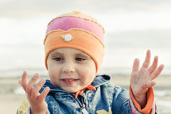 Little girl shows her hands Royalty Free Stock Photography