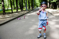 little girl shows she likes sport Stock Photography