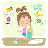 Little girl shows painted a picture. Vector illustration with the image of joyful little girl, who holds in one hand a drawn picture of the Princess, and in the Royalty Free Stock Photo