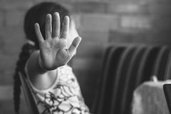 Little girl shows stop. Children violence and abused concept. stock image
