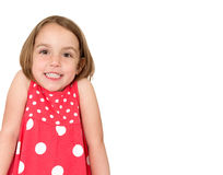 Little girl is shrugging and smiling. Place for your text or log Royalty Free Stock Photos