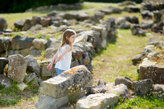 Little girl sightseeing historical ruins Stock Images