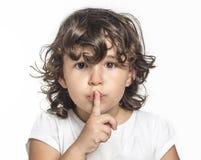 Little girl silence. Using her finger Royalty Free Stock Image