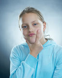 Little girl with silly face. Royalty Free Stock Images