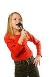 Little Girl Singing In Microphone Over White Royalty Free Stock Photo