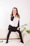 Little girl singing Stock Photo