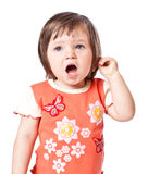 Little girl sings Stock Photos
