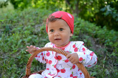 The little girl sits in a basket outdoors. Portrait Stock Photography