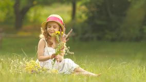Little girl sits in a clearing, turns over the torn wild flowers and makes a bouquet from them stock footage