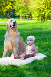 Little girl sits near a big dog Royalty Free Stock Image