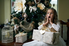 Little girl sits near a Christmas tree with gift. Stock Photos