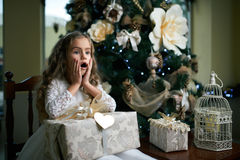 Little girl sits near a Christmas tree with gift. Royalty Free Stock Photos