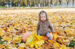 Little girl sits with pumpkin in the autumn city park. Royalty Free Stock Photos