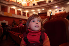 Little girl sits in theater Royalty Free Stock Photos