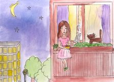 Little girl sitting on the balcony. Watercolor painting Stock Photo